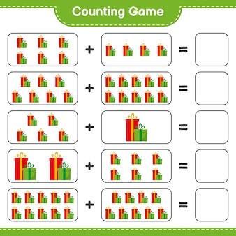 Подсчитайте игру, посчитайте количество подарочных коробок и запишите результат. развивающая детская игра, лист для печати