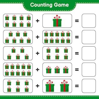 게임을 세고 선물 상자의 수를 세고 결과를 씁니다. 교육용 어린이 게임, 인쇄 가능한 워크 시트