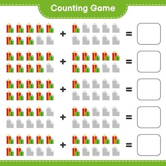 ゲームを数え、ギフトボックスの数を数え、結果を書きます。教育的な子供向けゲーム、印刷可能なワークシート