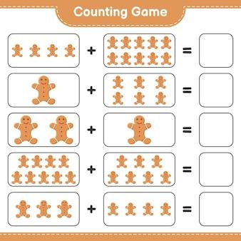 게임을 세고, 진저 브레드 맨의 수를 세고 결과를 씁니다. 교육용 어린이 게임, 인쇄 가능한 워크 시트