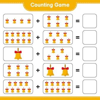 게임을 세고 황금 크리스마스 종의 수를 세고 결과를 씁니다. 교육용 어린이 게임, 인쇄 가능한 워크 시트