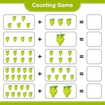 ゲームを数え、ブドウの数を数え、結果を書きます。