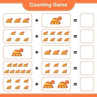 Считая игру, посчитайте количество шляп и запишите результат. развивающая детская игра, лист для печати, иллюстрация
