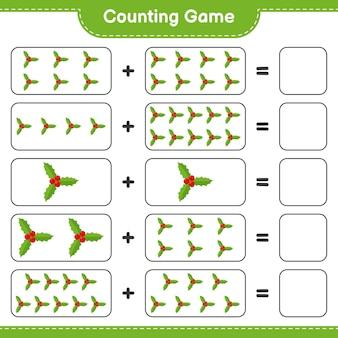 게임을 세고 holly berries의 수를 세고 결과를 씁니다. 교육용 어린이 게임, 인쇄 가능한 워크 시트