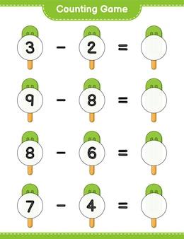 カウントゲームはアイスクリームの数を数え、結果を書きます教育的な子供たちのゲーム