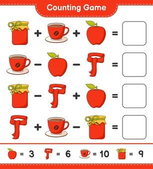 게임을 세고 jam, coffee cup, apple, scarf의 수를 세고 결과를 씁니다. 교육용 어린이 게임, 인쇄 가능한 워크 시트