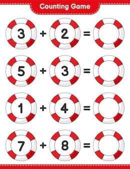 カウントゲームは救命浮輪の数を数え、結果を書く教育的な子供たちのゲーム