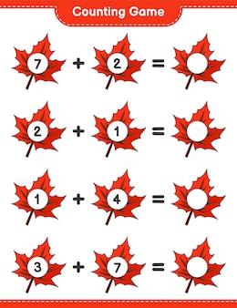 게임을 세고 단풍잎의 수를 세고 결과를 씁니다. 교육용 어린이 게임, 인쇄 가능한 워크 시트