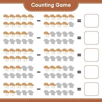게임을 세고 버섯 boletus의 수를 세고 결과를 씁니다. 교육용 어린이 게임, 인쇄 가능한 워크 시트