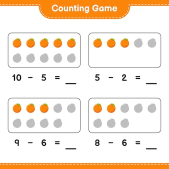 Считая игру, посчитайте количество апельсинов и запишите результат. развивающая детская игра, лист для печати