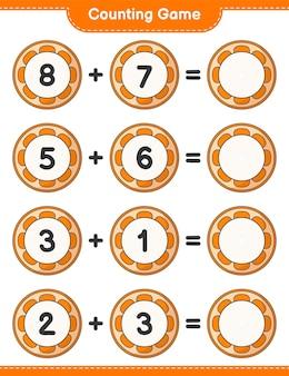 カウントゲームはオレンジの数を数え、結果を書く教育的な子供たちのゲーム