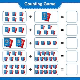 カウントゲームはパスポートの数を数え、結果を書く教育的な子供たちのゲーム