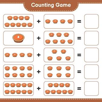 Подсчитайте игру, посчитайте количество пирогов и запишите результат. развивающая детская игра, лист для печати, иллюстрация