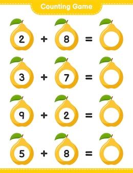 ゲームを数え、マルメロの数を数え、結果を書きます。教育的な子供向けゲーム、印刷可能なワークシート