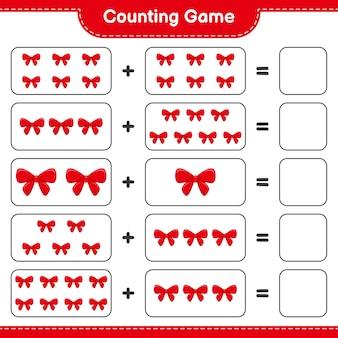 게임을 세고 리본 수를 세고 결과를 씁니다. 교육용 어린이 게임, 인쇄 가능한 워크 시트
