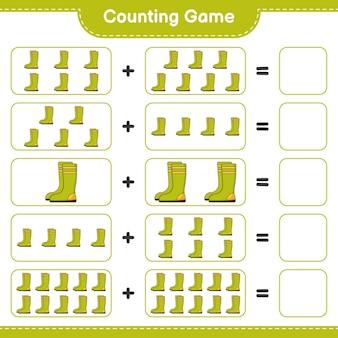 Подсчитывая игру, подсчитайте количество резиновых сапог и запишите результат. развивающая детская игра, лист для печати, иллюстрация