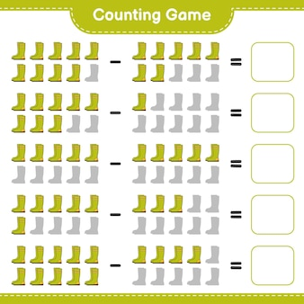게임을 세고 고무 장화의 수를 세고 결과를 씁니다. 교육용 어린이 게임, 인쇄 가능한 워크 시트