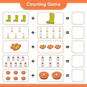 ゲームを数え、ゴム長靴、ろうそく、スリッパ、ランタン、パイの数を数え、結果を書きます。教育的な子供向けゲーム、印刷可能なワークシート