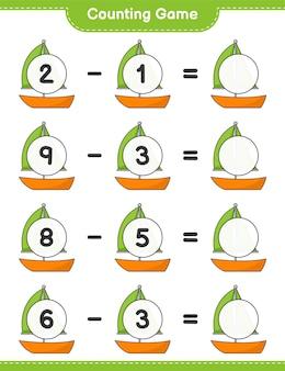 カウントゲームはヨットの数を数え、結果を書きます教育的な子供たちのゲーム