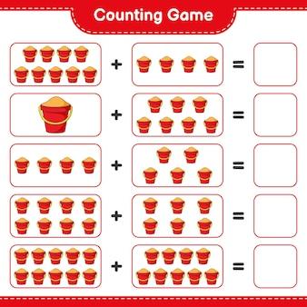 カウントゲームはサンドバケツの数を数え、結果を書く教育的な子供たちのゲーム