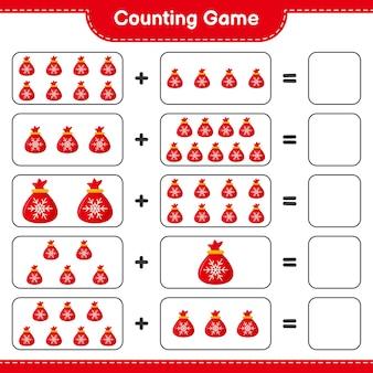 계산 게임, 산타 클로스 가방의 수를 세고 결과를 씁니다. 교육용 어린이 게임, 인쇄 가능한 워크 시트