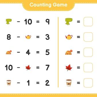 카운팅 게임, 스카프, 찻 주전자, 모자, 단풍잎, 커피 잔의 수를 세고 결과를 씁니다. 교육용 어린이 게임, 인쇄 가능한 워크 시트