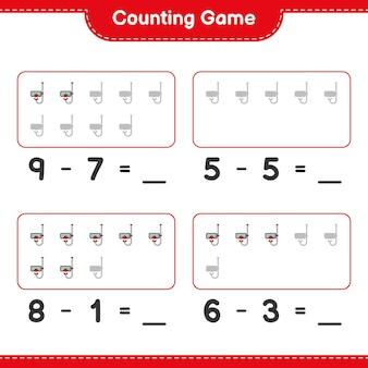 카운팅 게임 스쿠버 다이빙 마스크의 수를 세고 결과 쓰기 교육용 어린이 게임