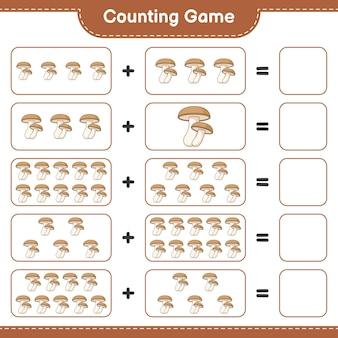 게임을 세고 표고 버섯의 수를 세고 결과를 씁니다. 교육용 어린이 게임, 인쇄 가능한 워크 시트, 일러스트레이션