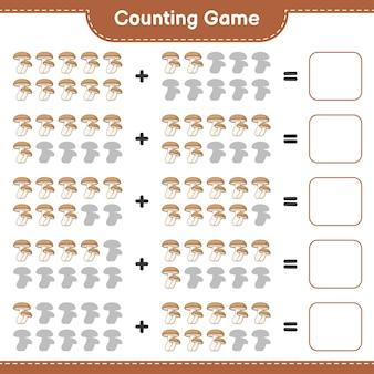 게임을 세고 표고 버섯의 수를 세고 결과를 씁니다. 교육용 어린이 게임, 인쇄 가능한 워크 시트