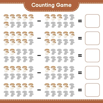 Считая игру, посчитайте количество шиитаке и запишите результат. развивающая детская игра, лист для печати