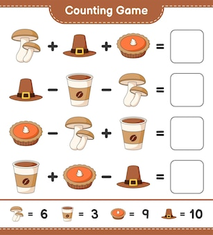 계산 게임, 표고 버섯, 모자, 파이, 커피 컵의 수를 세고 결과를 씁니다. 교육용 어린이 게임, 인쇄 가능한 워크 시트