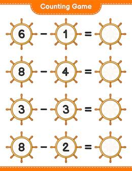 カウントゲームは船のハンドルの数を数え、結果を書きます