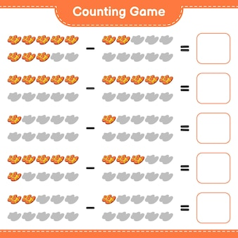 ゲームを数え、スリッパの数を数え、結果を書きます。教育的な子供向けゲーム、印刷可能なワークシート