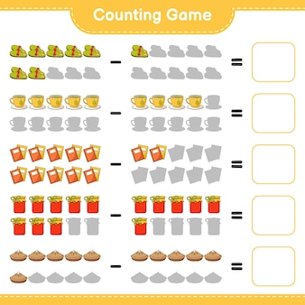 Подсчитывая игру, подсчитайте количество тапочек, чайной чашки, книги, джема, пирога и запишите результат. развивающая детская игра, лист для печати