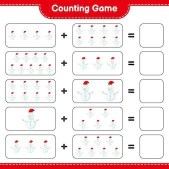 Считая игру, посчитайте количество снеговиков и запишите результат. развивающая детская игра, лист для печати