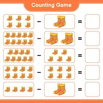 게임을 세고 양말의 수를 세고 결과를 씁니다. 교육용 어린이 게임, 인쇄 가능한 워크 시트