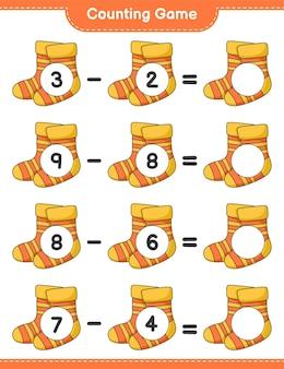 ゲームを数え、靴下の数を数え、結果を書きます。教育的な子供向けゲーム、印刷可能なワークシート