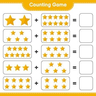 게임을 세고 별의 수를 세고 결과를 씁니다. 교육용 어린이 게임, 인쇄 가능한 워크 시트