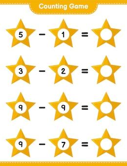 ゲームを数え、星の数を数え、結果を書きます。教育的な子供向けゲーム、印刷可能なワークシート