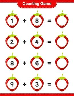 ゲームを数え、イチゴの数を数え、結果を書きます。教育的な子供向けゲーム、印刷可能なワークシート