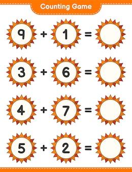 カウントゲームは太陽の数を数え、結果を書く教育的な子供たちのゲーム