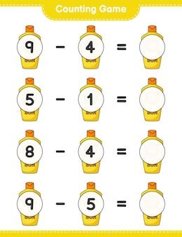 カウントゲームは日焼け止めの数を数え、結果を書きます教育的な子供たちのゲーム