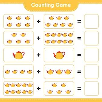 게임을 세고 찻 주전자의 수를 세고 결과를 씁니다. 교육용 어린이 게임, 인쇄 가능한 워크 시트, 일러스트레이션