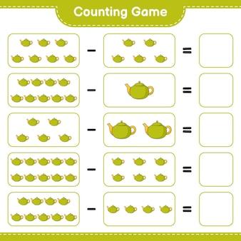 게임을 세고 찻 주전자의 수를 세고 결과를 씁니다. 교육용 어린이 게임, 인쇄 가능한 워크 시트