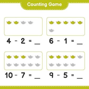 カウントゲーム、ティーポットの数を数え、結果を書き込みます。教育用子供向けゲーム、印刷可能なワークシート