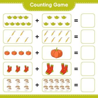 ゲームを数え、急須、傘、かぼちゃ、靴下、椎茸の数を数え、結果を書きます。教育的な子供向けゲーム、印刷可能なワークシート