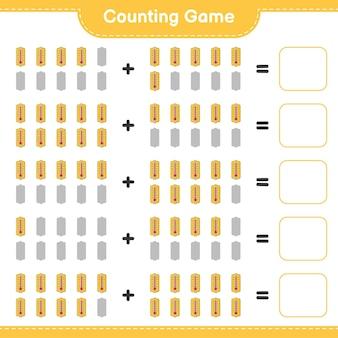 カウントゲーム、温度計の数を数え、結果を書き込みます。教育用子供向けゲーム、印刷可能なワークシート