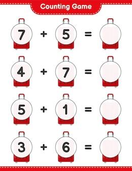 カウントゲームはトラベルバッグの数を数え、結果を書きます教育子供向けゲーム