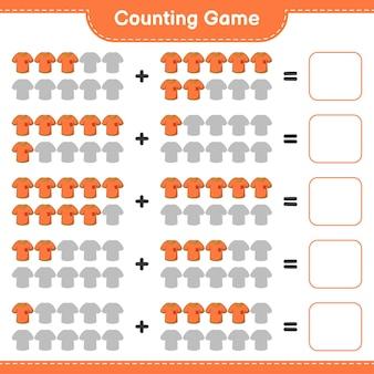 カウントゲーム、tシャツの枚数を数え、結果を書き込みます。教育用子供向けゲーム、印刷可能なワークシート
