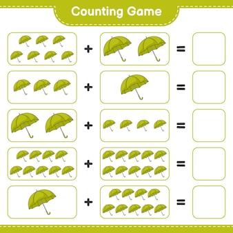 ゲームを数え、傘の数を数え、結果を書きます。教育的な子供向けゲーム、印刷可能なワークシート、イラスト